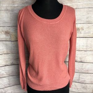 Dusty Rose Color Long Sleeve Crew Neck Sweater